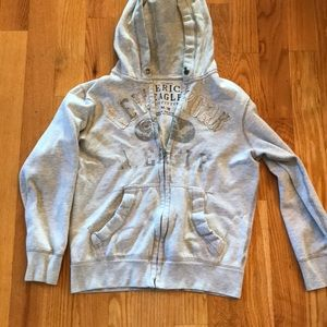 American eagle men's hoodie sweatshirt M grey zip